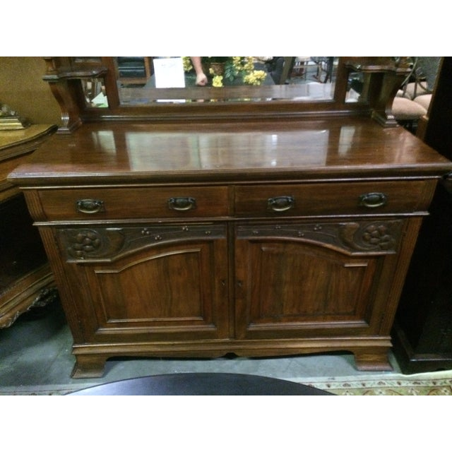 Antique Hand-Carved Buffet & Mirror - Image 10 of 10