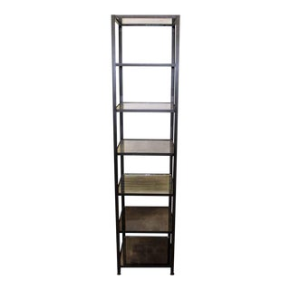 Tall Distressed Silvered Mirrored Shelves Steel Unit