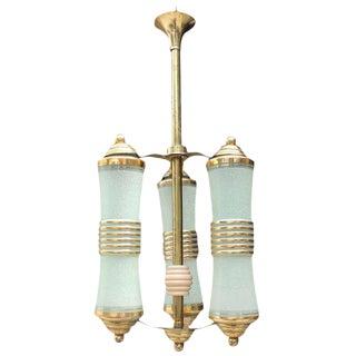 French Art Deco 3 Light Lantern Chandelier Circa 1935s