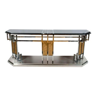 Lorin Marsh Stainless Steel, Bronze and Marble Topped Console