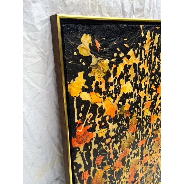 "Mixed Media Flower Art 60s - 26"" x 38"" - Image 2 of 4"