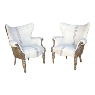 Custom Lambskin and Vintage Linen Chairs