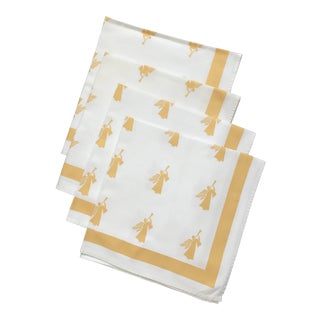 Large Gold White Angel Table Napkins - Set of 4
