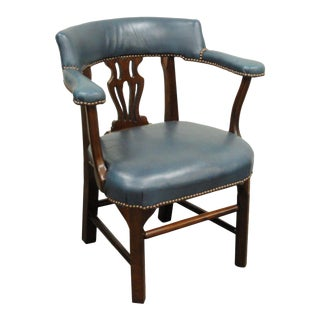 Ephraim Marsh Vintage Chippendale Blue Leather Library Chair