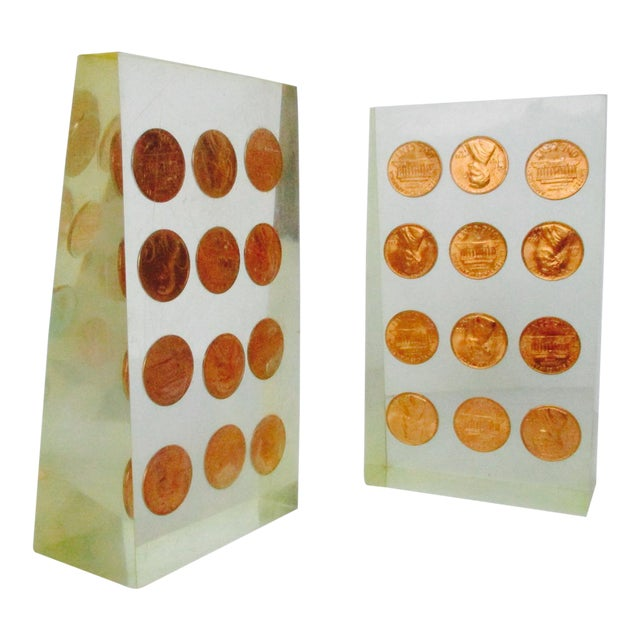 Image of 1972 Lucite Penny Bookends - A Pair