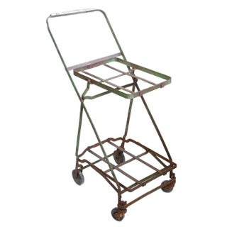 Vintage Metal Two-Tier Rolling Cart