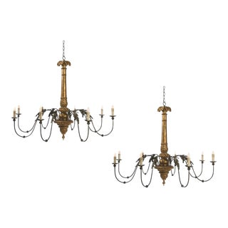 Two Giltwood and Tole Eight-Arm Chandeliers of Large Scale