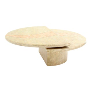 Revolving Expandable Tessellated-Top Round Coffee Table