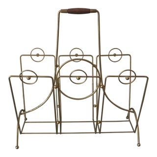 Mid-Century Brass & Walnut Magazine Rack