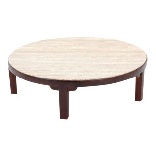 Edward Wormley for Dunbar Round Coffee Table with Travertine Top