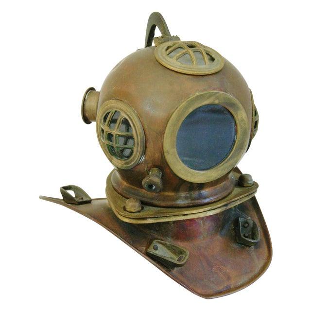 Image of 1960's Nautical Brass Diving Helmet