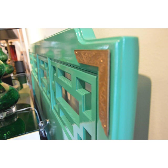 Lacquered Green Queen Fretwork Headboard - Image 4 of 5