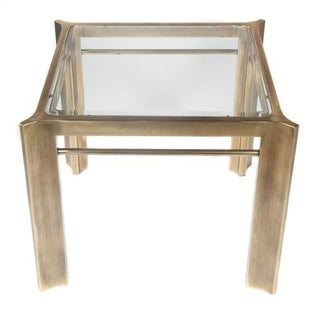 1970S MASTERCRAFT BRASS SIDE TABLE WITH TAPERED CORNERS