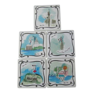 Whimsical City Coasters-5 Pieces