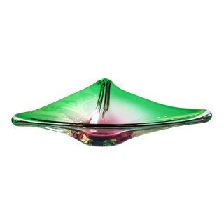 A Stunning Murano 1950's Alexandrite Art Glass Triangular-Form Bowl
