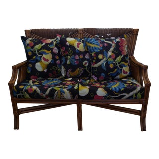 Tommy Bahama Style Bentwood Rattan Settee