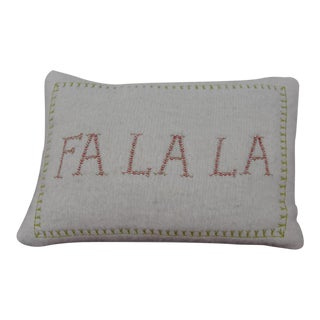 Embroidered 'Fa La La' Holiday Throw Pillow