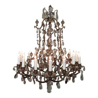 Early 20th C Italian Patinated Bronze, Crystal and Amethyst Chandelier