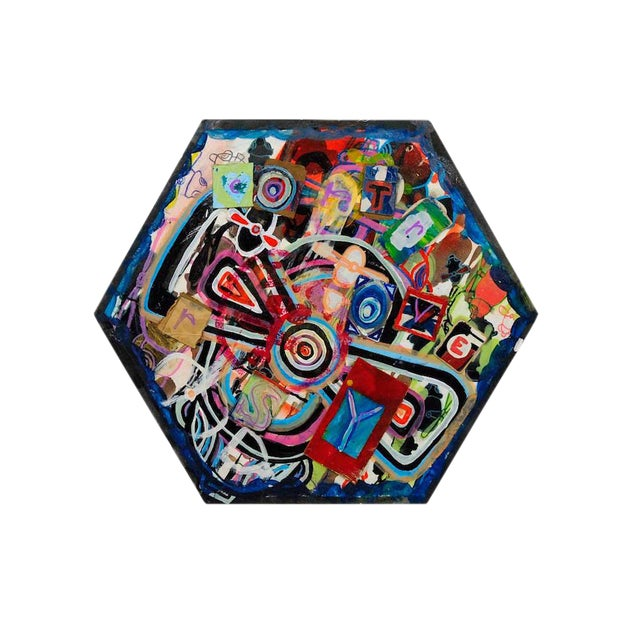 Antjuan Oden Hexagon Assemblage Painting - Image 1 of 5