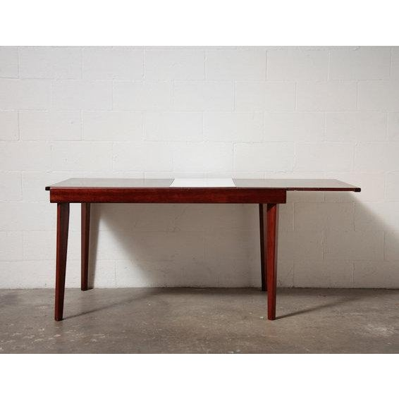 Mid-Century Rosewood Table With White Leaf - Image 2 of 8