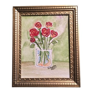 Miniature Framed Watercolor Roses Painting