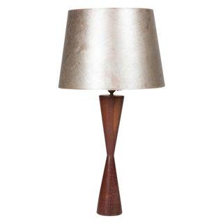 Turned Walnut Table Lamp, Danish, 1950s