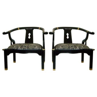 Black Lacquer Ming Style Zebra Arm Chairs - A Pair