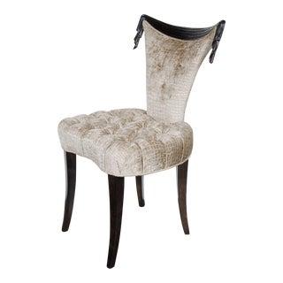 1940s Hollywood Regency Draped Chair by Grosfeld House in Ebonized Walnut