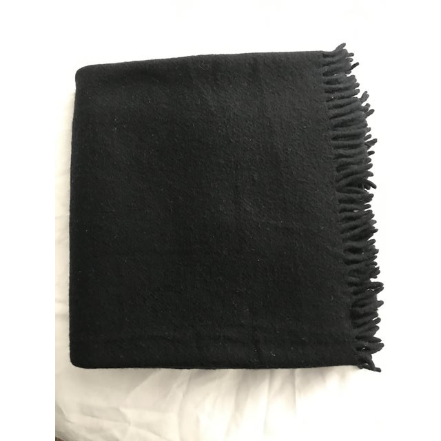 Zambaiti Lambswool & Cashmere Black Square Throw - Image 2 of 4