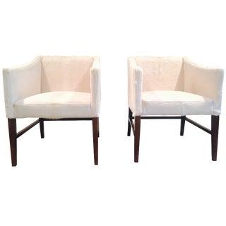 White Brazilian Cowhide Club Chairs - A Pair