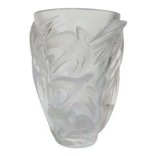 "c1982 French Lalique Large Frosted Vase ""Martinets"""