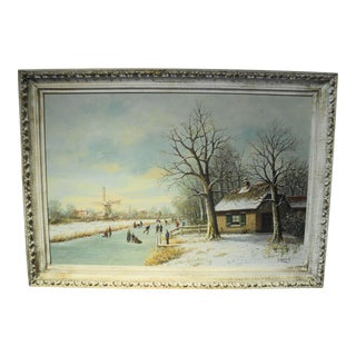 Vintage Winter Scene Oil Painting