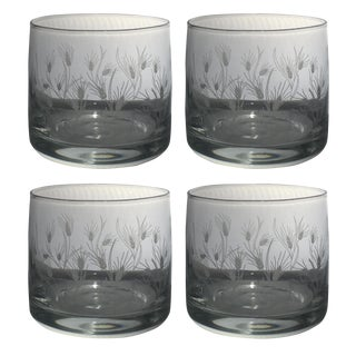 Mid-Century Style Etched Rocks Glassware With Wheat Pattern - Set of 4