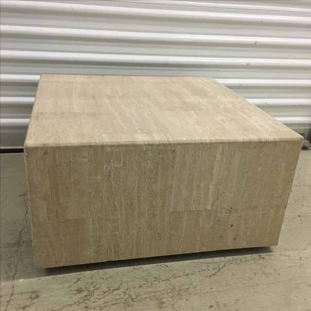 Rolling Travertine Cube Side Table - Image 2 of 8
