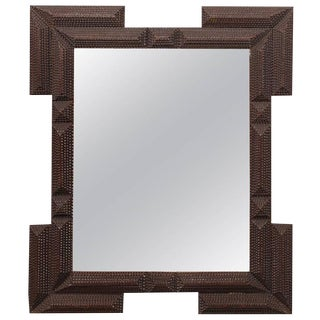 French Turn of the Century Wooden Tramp Art Mirror