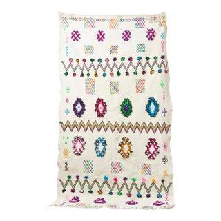 White & Multicolor Moroccan Blanket