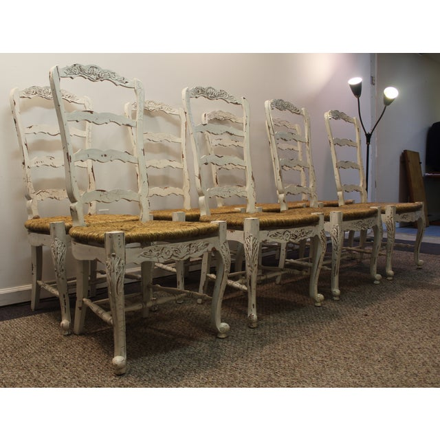 Country French Rush Seat Side Chairs - Set of 8 - Image 2 of 9