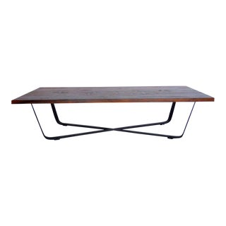 Custom Teak and Iron Coffee Table
