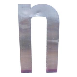 """Antique Industrial Stainless Steel Metal Letter """"n"""""""