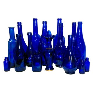 Vintage Blue Glass Bottles - Set of 16