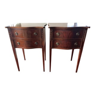 Vintage Mahogany Finish Side Tables - A Pair