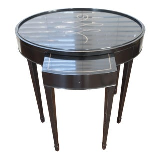 Black & Gold Calligraphy Side Table