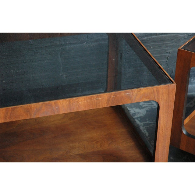 Image of Lane Walnut & Smoked Glass Side Table