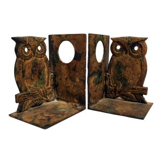 Heavy Owl Iron Bookends - A Pair