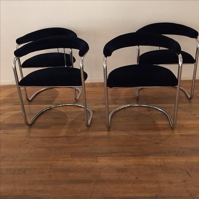 Chrome & Velvet Armchairs - Set of 4 - Image 3 of 7