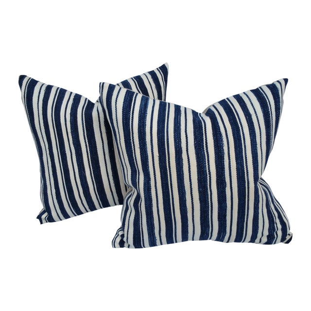 Mali Indigo Strip Pillows - Pair - Image 1 of 5