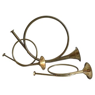 Decorative Brass French Horns - Set of 3