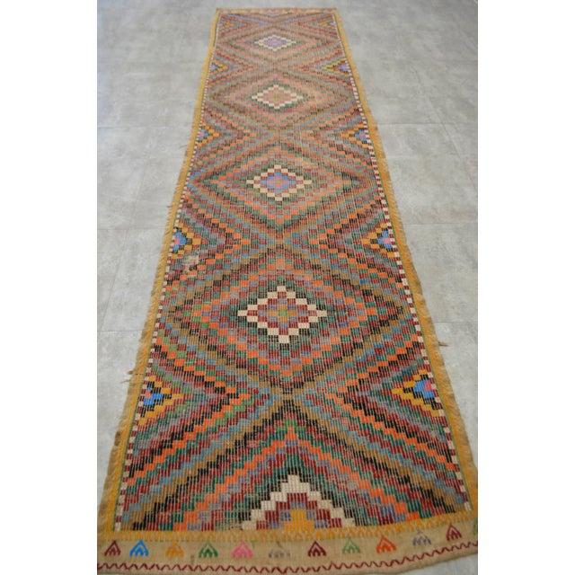 "Turkish Oushak Handmade Cotton Kilim Runner Rug - 3'2"" x 12'4"" - Image 3 of 10"