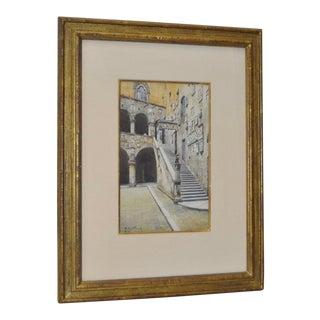 """1920 """"Venetian Steps"""" Original Watercolor by Pieretto Bianco Bortoluzzi"""