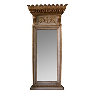 A Regal and Boldly-Scaled Swedish Egyptian Revival Ivory Painted & Parcel-Gilt Pier Mirror